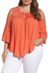 Democracy Plus Size Women's Asymmetrical Cold Shoulder Top Red