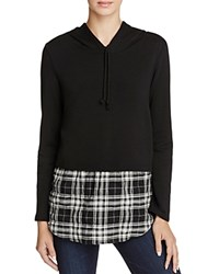 Generation Love Chester Plaid Layered Look Hoodie Black