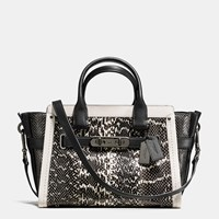 Coach Swagger 27 In Genuine Snake Dk Chalk Black