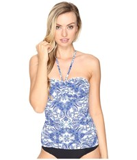 Bleu Rod Beattie Driving Miss Paisley Bandeau Tankini Top Navy Women's Swimwear