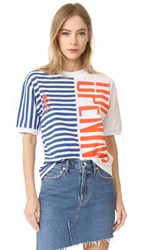 Opening Ceremony Striped Strech Logo Tee White Multi