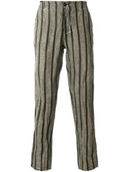 Transit Stripe Creased Trousers Brown