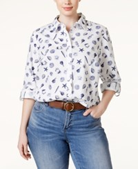 Charter Club Plus Size Shell Print Button Down Shirt Only At Macy's Bright White Combo