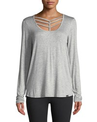 Marc New York Long Sleeve Chevron Cutout Tee Gray