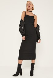 Missguided Tall Black Ribbed Open Back Bodycon Midi Dress