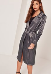 Missguided Sarah Ashcroft Satin Duster Coat Grey Grey