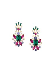 Dolce And Gabbana Crystal Drop Clip On Earrings Metallic