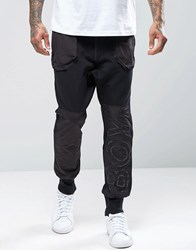 Boy London Cuffed Joggers With Logo Panel Black