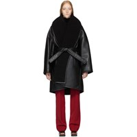 Balenciaga Black Faux Leather Light Cocoon Coat