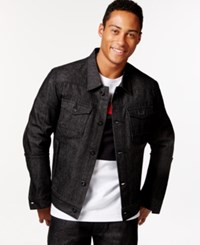 Sean John Racer Raw Black Wash Denim Jacket