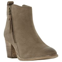 Dune Pontoon Stacked Heel Ankle Boots Taupe
