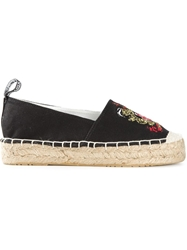 Love Moschino Embroidered Platform Espadrilles Black