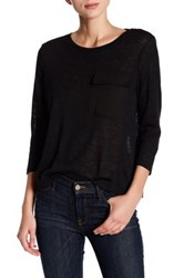 Romeo And Juliet Couture 3 4 Sleeve Pocket Tee Black