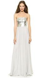 Mason By Michelle Mason Leather Bodice Strapless Gown Ash
