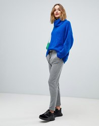 Esprit Grid Print Soft Tailored Trousers Grey