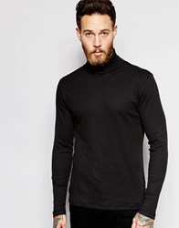 New Look Ribbed Long Sleeve Roll Neck In Black