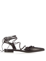Saint Laurent Paris Lace Up Leather Flats Black