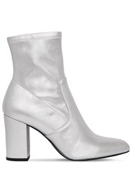 Steve Madden 90Mm Actual Faux Metallic Leather Boots Silver