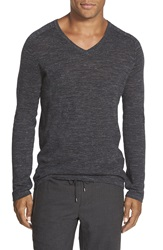 Vince Jaspe Wool And Linen V Neck Sweater Heather Charcoal