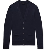 Tom Ford Knitted Wool Cardigan Midnight Blue