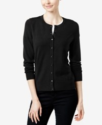 Charter Club Crew Neck Cardigan Only At Macy's Deep Black