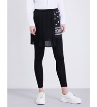 5Cm Paisley Overlay Skinny Jersey Trousers Black