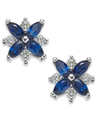 Macy's Sapphire 1 5 8 Ct. T.W. And Diamond 3 8 Ct. T.W. Stud Earrings In 14K White Gold