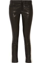 Haider Ackermann Grosgrain Trimmed Leather Skinny Pants Black