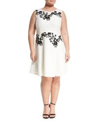 Taylor Plus Corded Floral Embroidered Dress Cream
