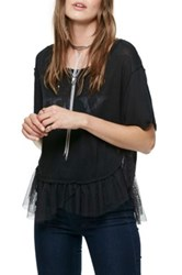 Free People Pretty In Punk Tulle Tee Black