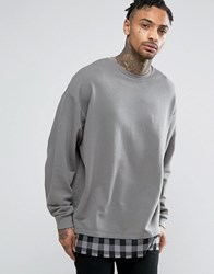 Asos Oversized Sweatshirt With Check Hem Stormcloud Grey