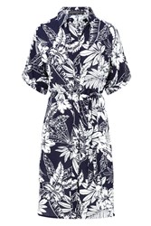 Sugarhill Boutique Laria Roll Sleeve Palm Print Shirt Dress Navy