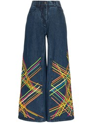 All Things Mochi Brianna Embroidered Flared Jeans Blue