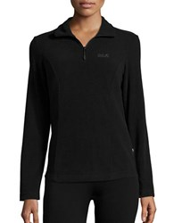 Jack Wolfskin Zip Placket Performance Fleece Top Black