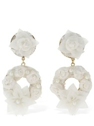 Magda Butrym Edelweiss Tulle And Lace Earrings White