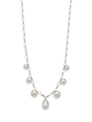 Majorica Rain 6Mm 9Mm White Pearl And Sterling Silver Charm Necklace Silver White Pearl