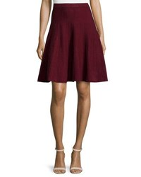Chelsea And Theodore Ottoman Pleated Knit Skirt Burgundy