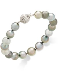 Macy's Cultured Tahitian Pearl 8 10Mm Bracelet In 14K White Gold Gray