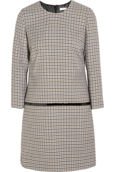 Bouchra Jarrar Sherlock Patent Trimmed Wool Tweed Mini Dress