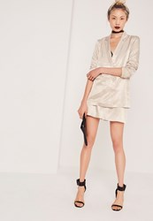 Missguided Premium Satin Double Breasted Blazer Nude Cream