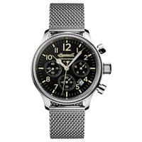 Ingersoll I02901 Men's The Apsley Chronograph Date Bracelet Strap Watch Silver Black