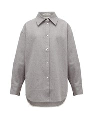 Acne Studios Sharwin Wool Blend Flannel Overshirt Grey