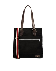 Fred Perry Classic Box Shopper Bag In Canvas Black