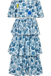 All Things Mochi Barta Off The Shoulder Printed Cotton Midi Dress Azure