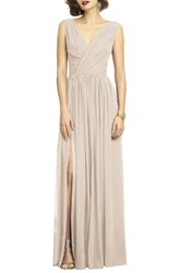 Dessy Collection Women's Surplice Ruched Chiffon Gown Cameo