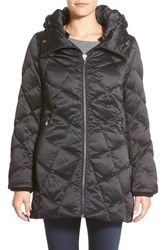 Women's Kristen Blake Hooded Diamond Quilted A Line Down Coat Black