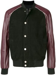 Les Hommes Two Tone Bomber Jacket Black