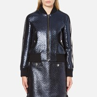 Msgm Women's Metallic Tweed Bomber Jacket Blue