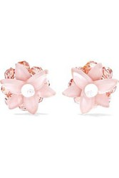 Red Valentino Gold Tone Bead And Resin Clip Earrings Pastel Pink