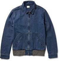 Faherty Indigo Dyed Cotton Canvas Jacket Blue